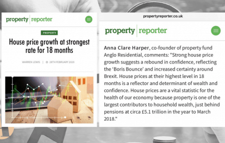 """The latest figures released by Nationwide have shown that life is returning back to the market post-Brexit with annual house price growth edging up to 2.3%, the strongest rate for 18 months. In this article by Property Reporter, Anna Clare Harper, co-founder of property fund Anglo Residential, comments: """"Strong house price growth suggests a rebound […]"""