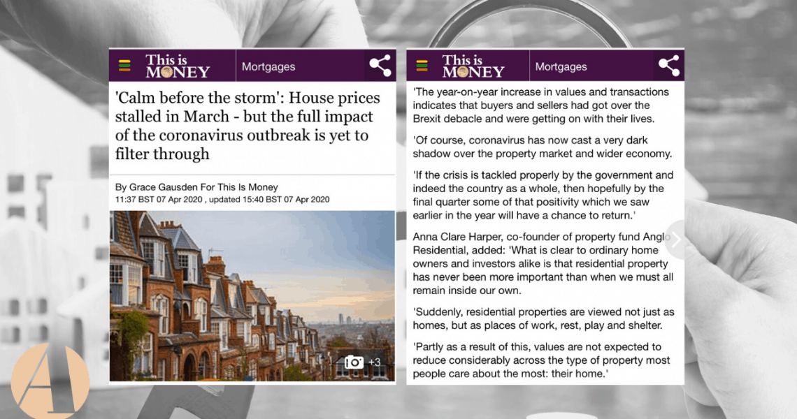 Thisismoney.co.uk has reported that 'property prices were stable in March, but with market activity falling drastically thanks to the coronavirus outbreak, it remains to be seen if they hold up. February 2020 saw a record high for house prices at an average of £240,461 according to lender Halifax.' Anna Clare Harper was asked to give […]