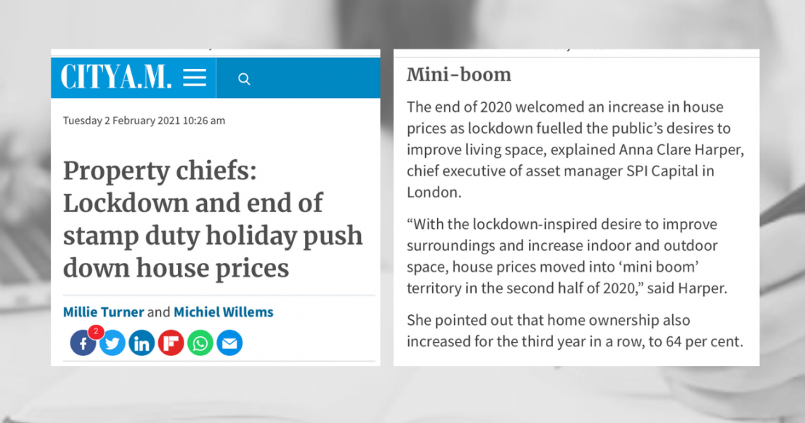 Anna's house price data comments featured in City AM
