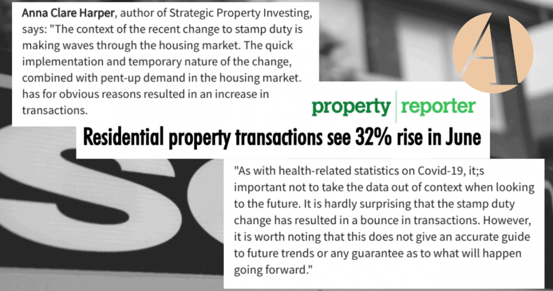 Residential property transactions see 32% rise in June: Anna comments on HMRC data