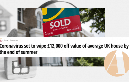 Coronavirus set to wipe £12,000 off value of average UK house by the end of summer – according to The Mirror. The figures also suggest prices won't stop falling when summer ends either, with an average value decline of 5.1% expected by the end of the year. Anna Clare Harper, co-founder of property fund Anglo […]