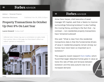 Anna comments in Forbes on HMRC's October house price data
