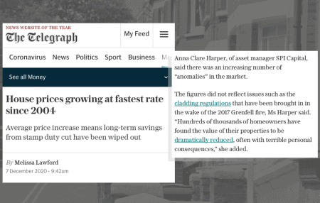 Thanks to The Telegraphfor publishing my comments on the latest House Price data released by Halifax.  According to the data, house prices were 7.6% higher than in the same month a year earlier. House price growth is on its strongest run since 2004, rising by an average of £15,000 since June.