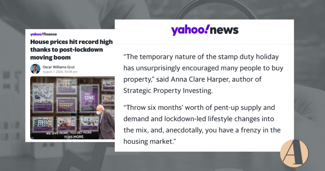 Yahoo finance: Anna featured in 'post-lockdown moving boom' article