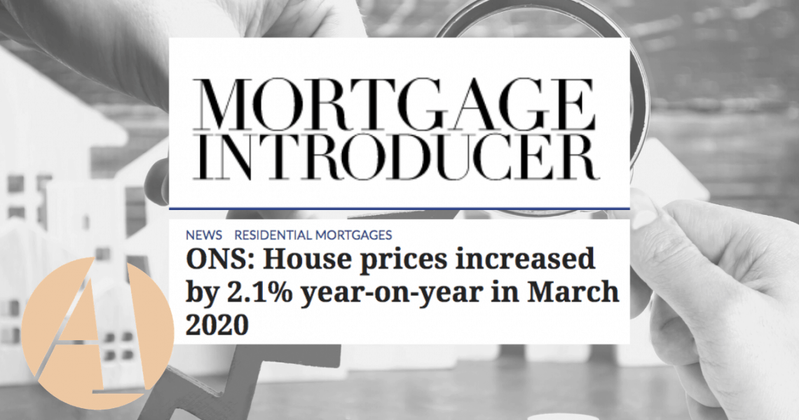 Published on MortgageStrategy.co.uk: ONS: House prices increased by 2.1% year-on-year in March 2020 Link to article here  UK average house prices increased by 2.1% over the year to March 2020, up from 2.0% in February 2020, according to figures from the Office for National Statistics (ONS).  Average house prices increased over the year in England to […]
