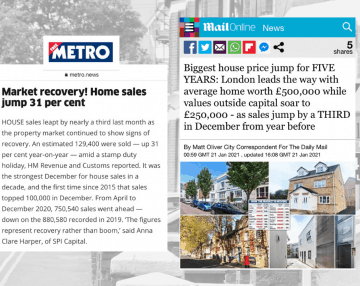 Daily Mail & Metro feature Anna's comments on HMRC's house price data