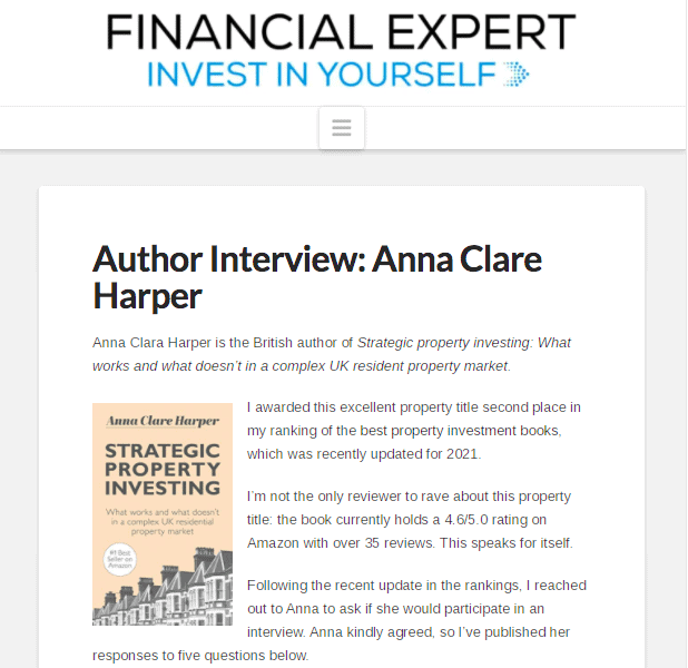 Financial Expert's Author Interview: Anna Clare Harper